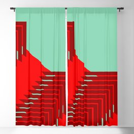 Line pattern, zigzagging with red and green Blackout Curtain