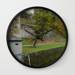 Castle moat around the Czech city of Krumlov Wall Clock