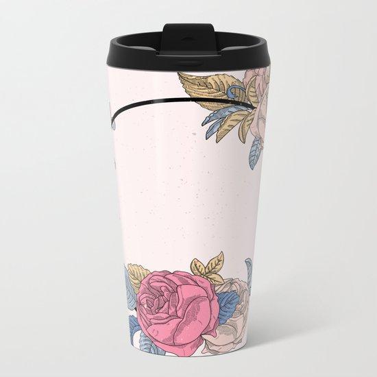 Floral Wreath Metal Travel Mug