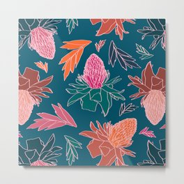 Tropical Ginger Plants in Coral + Teal Metal Print