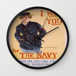 Vintage poster - I Want You for the Navy Wall Clock