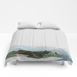 Mountain Vista with Big Sky and River, Winterscape Comforters