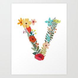 Monogram Letter V Art Print