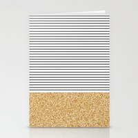 gold glitter Stationery Cards featuring Minimal Gold Glitter Stripes by Allyson Johnson