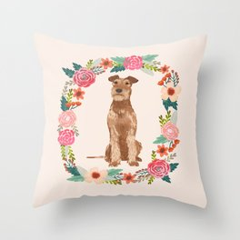 Irish Terrier floral wreath dog breed pet portrait pure breed dog lovers Throw Pillow