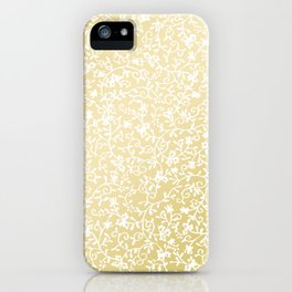 Hand painted modern faux gold white floral pattern iPhone Case