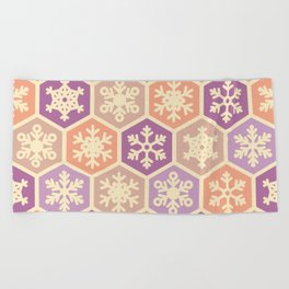 Peach Pink and Purple Christmas Nordic Snowflake Pattern Beach Towel