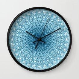 Stroked Quantum Mandala Blue 1 Wall Clock