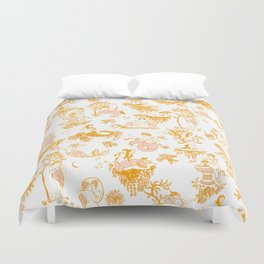 Astrology-Inspired Zodiac Gold Toile Pattern Duvet Cover