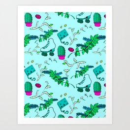 Little Knick-knacks//Blue//Pattern #1 Art Print
