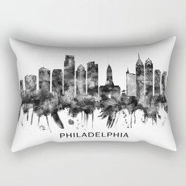 Philadelphia Pennsylvania Skyline BW Rectangular Pillow
