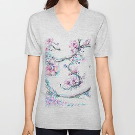 lavendar and pink flowers and tree Unisex V-Neck