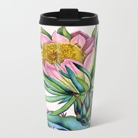 Blooming cactus Metal Travel Mug