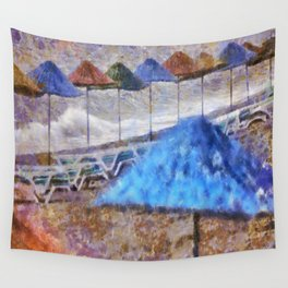 Beach Umbrellas In Impressionist Style Wall Tapestry