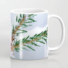 Spruce twig with snowflakes on blue Coffee Mug