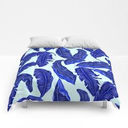 Banana leaves tropical leaves blue white #homedecor Comforters