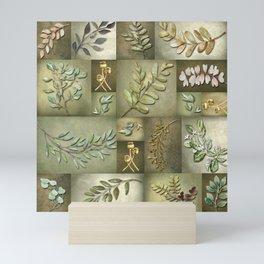 Earthtone Color Blocks with Botanicals Mini Art Print