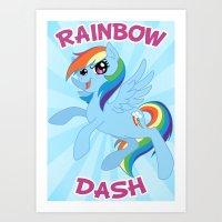 mlp Art Prints featuring MLP FiM: Rainbow Dash by Yiji