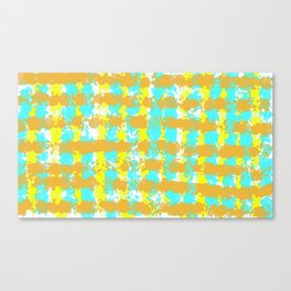painting lines background in orange yellow and blue Canvas Print