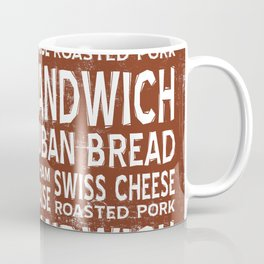 Cuban Sandwich Word Food Art Poster (Brown) Coffee Mug