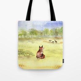 Red Fox Watching Wild Turkeys - Watercolor Tote Bag