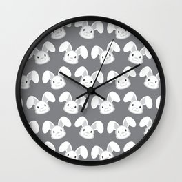 Cute White Bunny on Gray background Wall Clock
