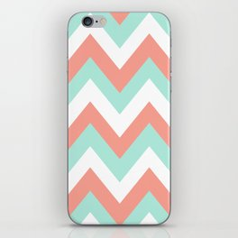 MINT & CORAL CHEVRON iPhone Skin
