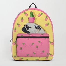 Pug Flower Pot Cactus Backpack