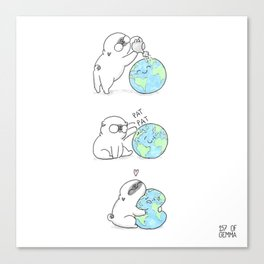Mochi the pug celebrating Earth day Canvas Print