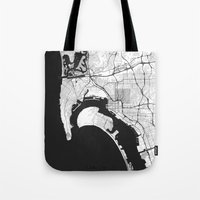 san diego Tote Bags featuring San Diego Map Gray by City Art Posters