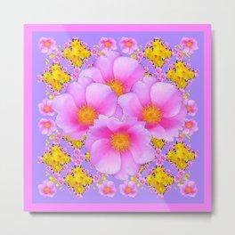 Pink-lilac Wild Ross Yellow Floral Art Metal Print