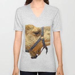 Camel Face Laces Available to be Exploited Mammal Unisex V-Neck
