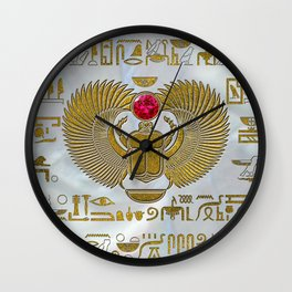 Egyptian Scarab Beetle Gold and Ruby Stone Wall Clock