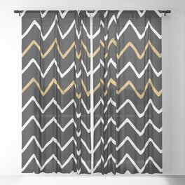 Writing Exercise - Simple Zig Zag Pattern- White Gold on Black - Mix & Match Sheer Curtain