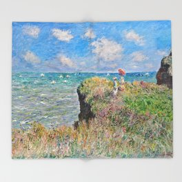 Claude Monet Cliff Walk At Pourville 1882 Throw Blanket