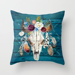 Rustic Glam Boho Chic in Teal Throw Pillow
