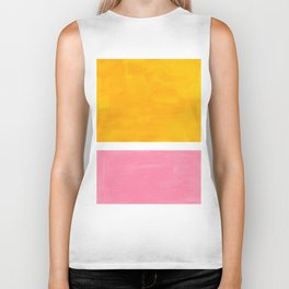 Pastel Yellow Pink Rothko Minimalist Mid Century Abstract Color Field Squares Biker Tank