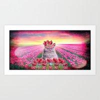 Tulip Kitty Art Print
