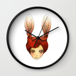 the girl with rabbit hair Wall Clock
