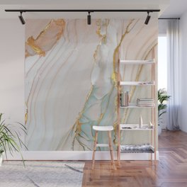Blush Gold Alcohol Ink Abstract 1 Wall Mural