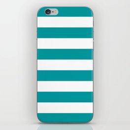 Horizontal Stripes Pattern: Teal iPhone Skin