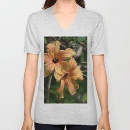 Orange Hibiscus Unisex V-Neck