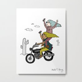 On the freedom experienced by Desert Bike Harpies Metal Print