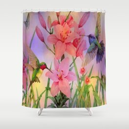 Painterly Hummingbirds And Flowers Shower Curtain