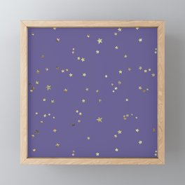 Gold Stars on Purple Night Sky Framed Mini Art Print
