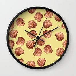 Yellow Big Clam pattern Illustration design Wall Clock