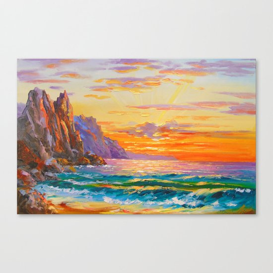 Sunset on the rocky shore Canvas Print