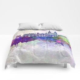 Burgos skyline in watercolor background Comforters