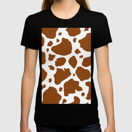 cocoa milk chocolate brown and white cow spots animal print T-shirt