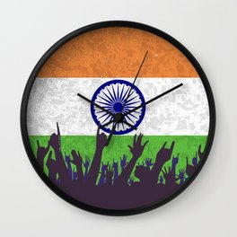 India Flag with Audience Wall Clock